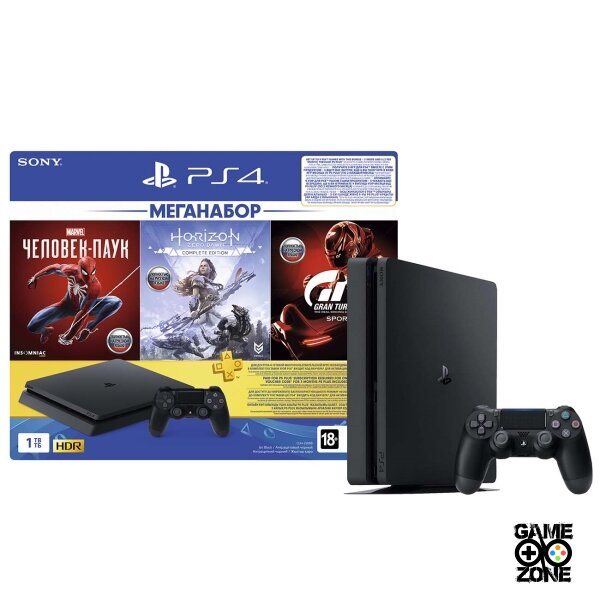 Sony PlayStation 4 (PS4 Slim, 1 Tb) + 3 игры